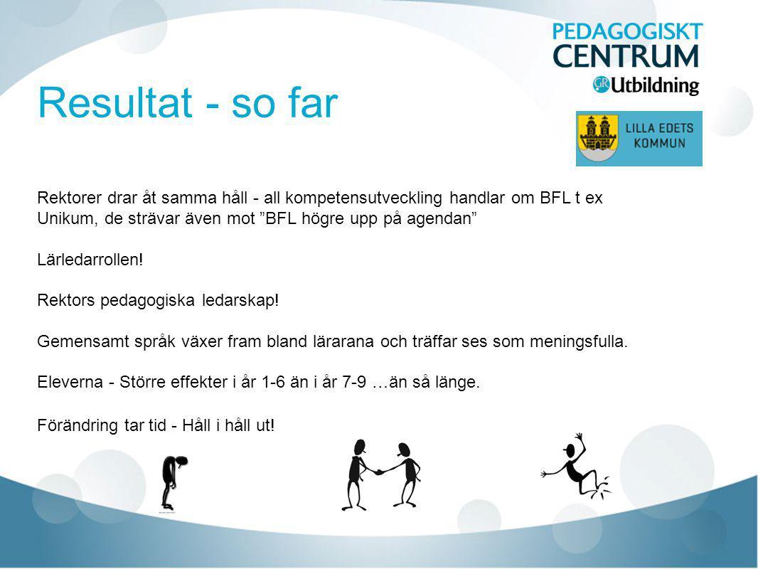 Resultat - so far Rektorer drar åt samma håll - all kompetensutveckling handlar om BFL t ex Unikum, de strävar även mot BFL högre upp på agendan