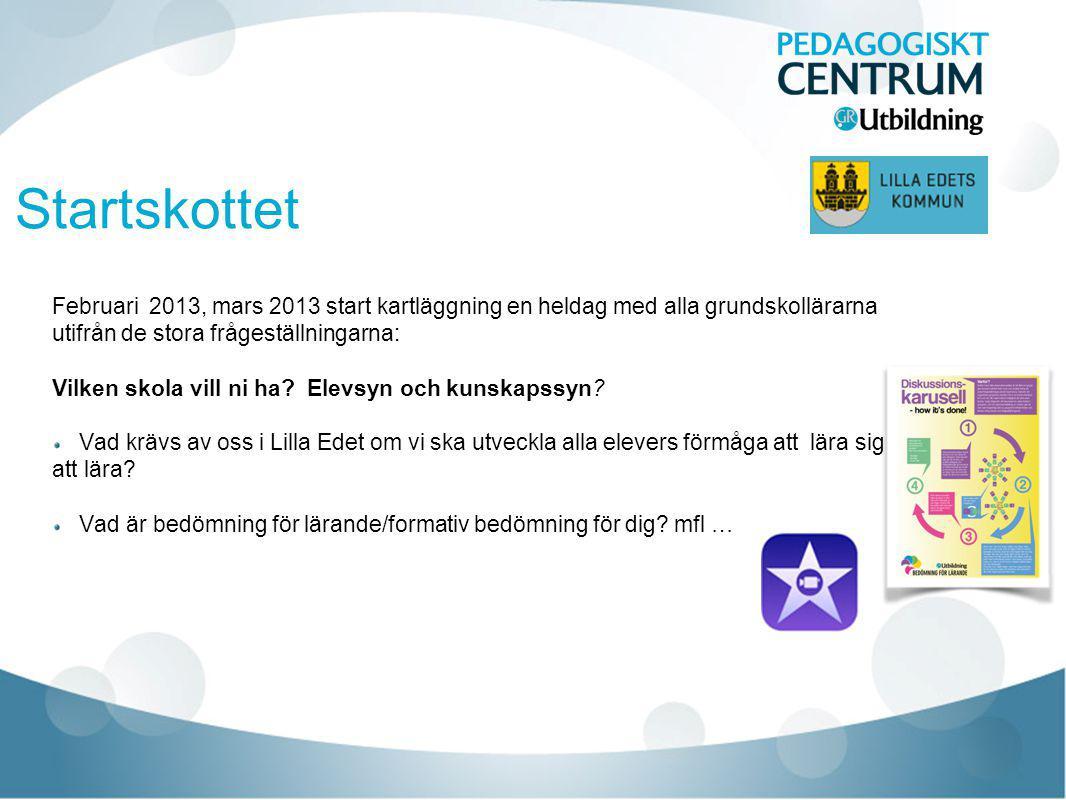 Startskottet Februari 2013, mars 2013 start kartläggning en heldag med alla grundskollärarna utifrån de stora frågeställningarna: