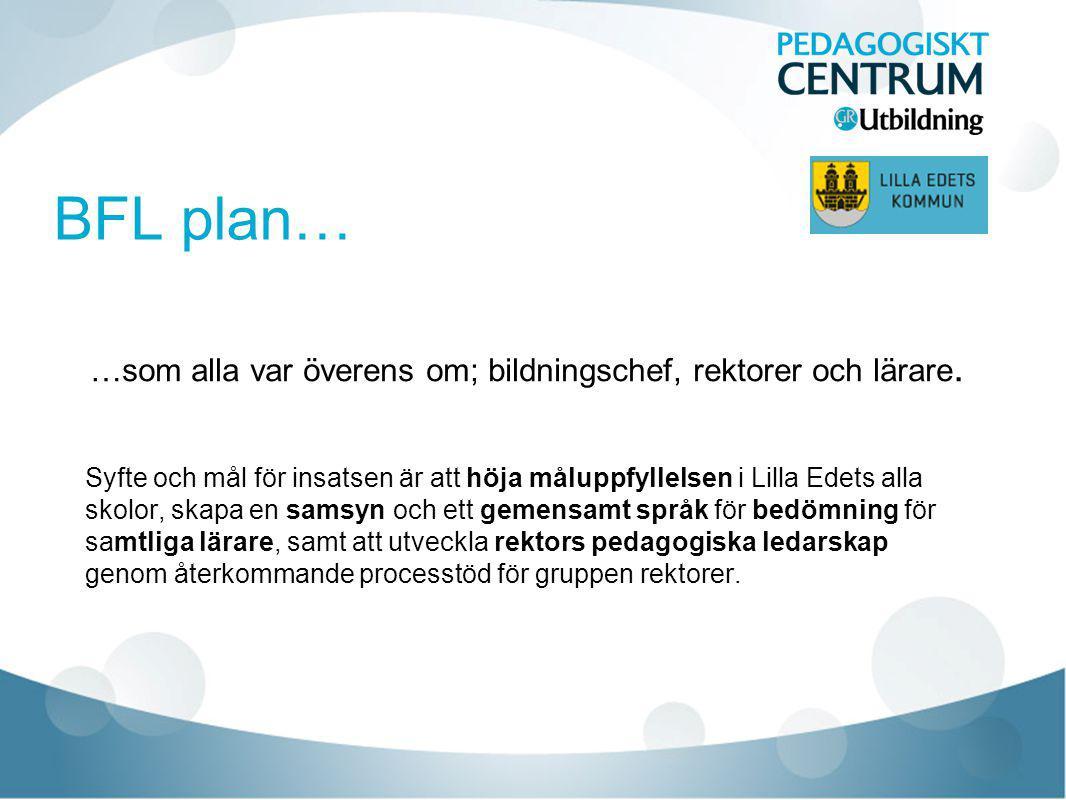 BFL plan… …som alla var överens om; bildningschef, rektorer och lärare.