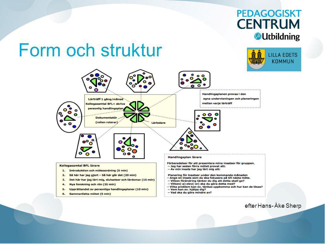 Form och struktur Lärande samtal med tydlig struktur som efterhand blivit mer fri då grupperna utvecklas.