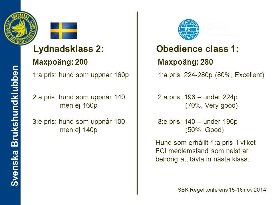 Lydnadsklass 2: Obedience class 1: Maxpoäng: 200 Maxpoäng: 280
