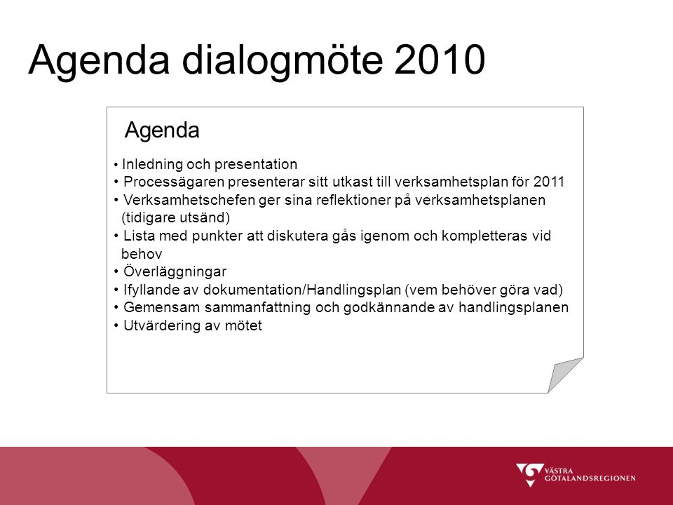 Agenda dialogmöte 2010 Agenda