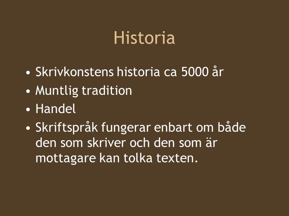 Historia Skrivkonstens historia ca 5000 år Muntlig tradition Handel