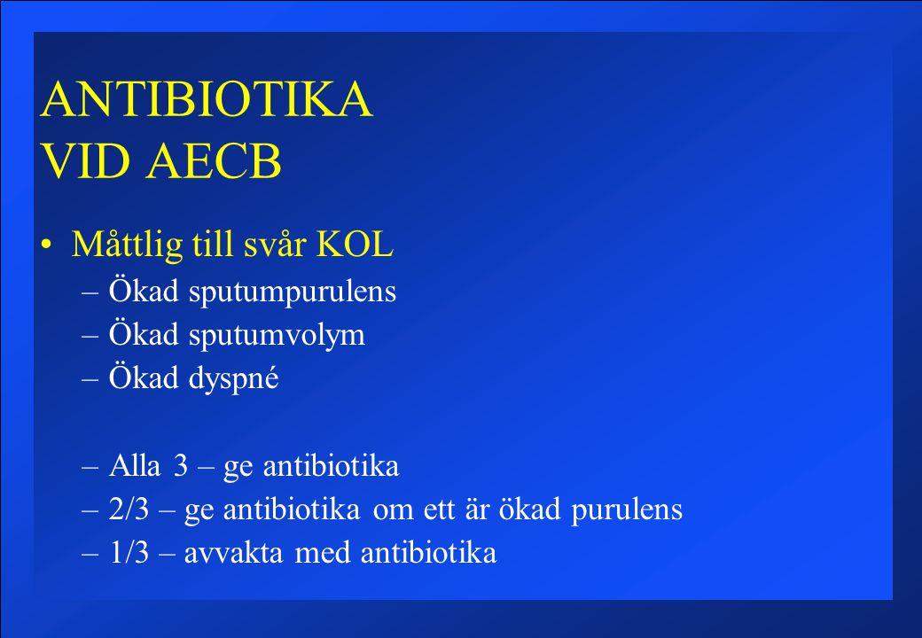 ANTIBIOTIKA VID AECB Måttlig till svår KOL Ökad sputumpurulens