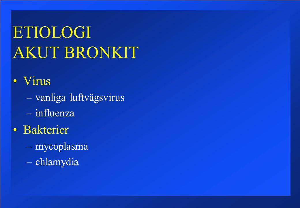 ETIOLOGI AKUT BRONKIT Virus Bakterier vanliga luftvägsvirus influenza