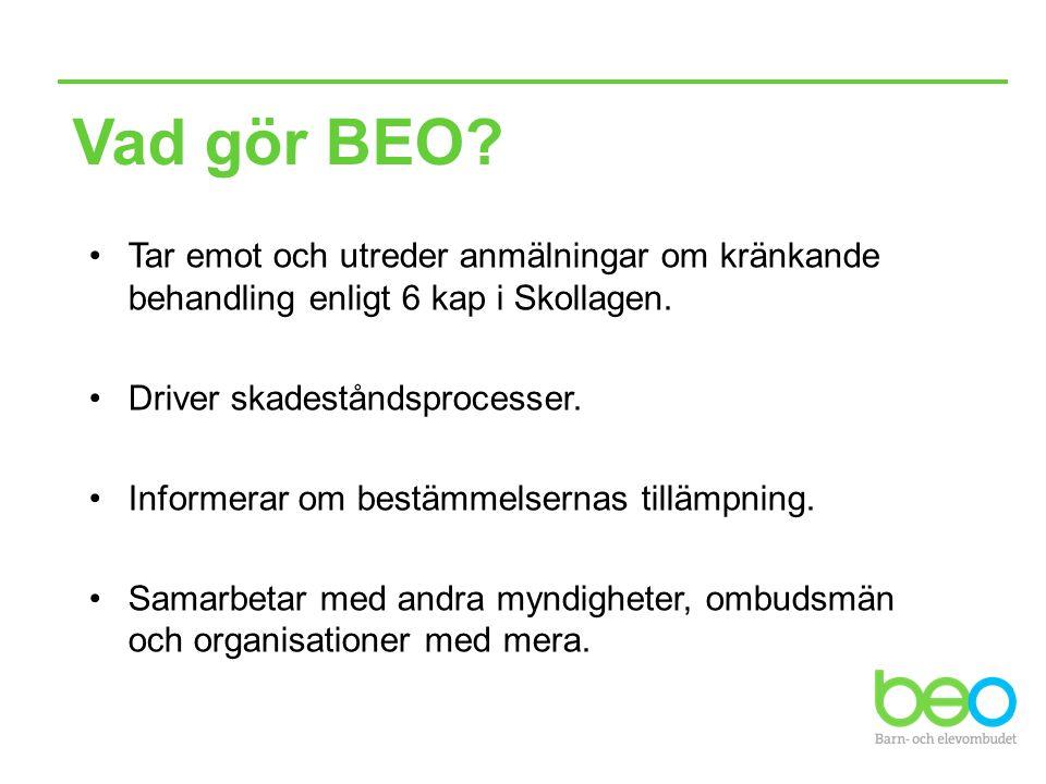 Vad gör BEO Tar emot och utreder anmälningar om kränkande behandling enligt 6 kap i Skollagen. Driver skadeståndsprocesser.