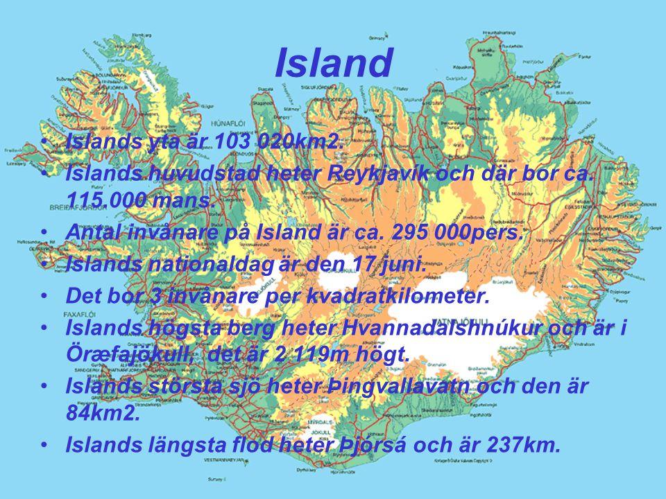 Island Islands yta är 103 020km2.