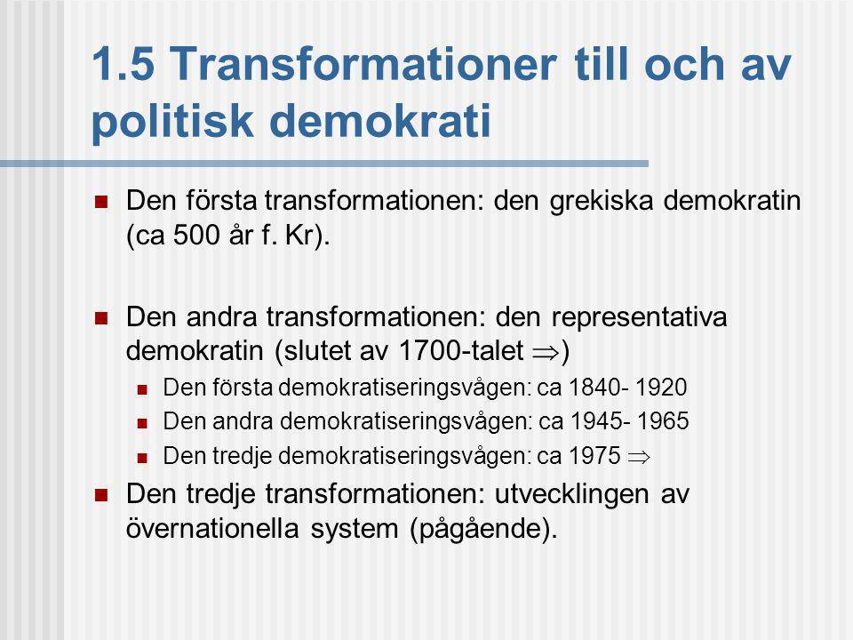 1.5 Transformationer till och av politisk demokrati
