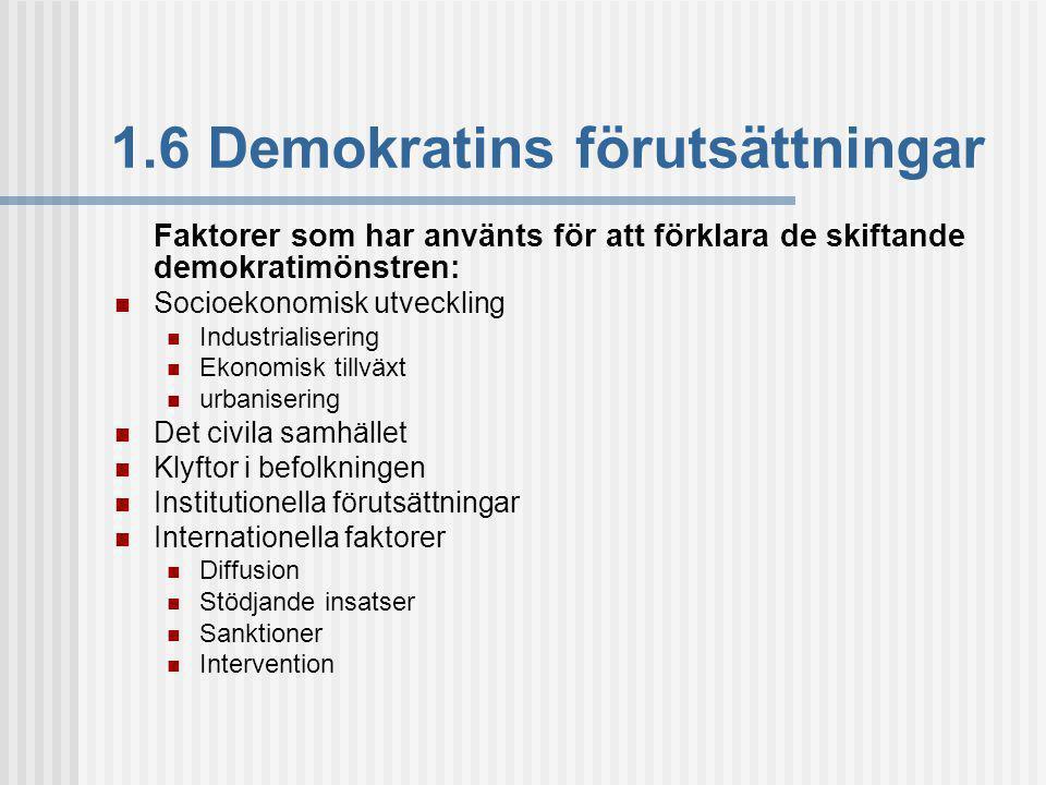 1.6 Demokratins förutsättningar