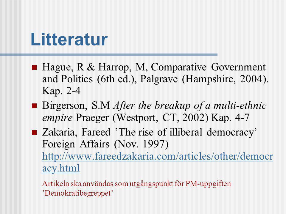 Litteratur Hague, R & Harrop, M, Comparative Government and Politics (6th ed.), Palgrave (Hampshire, 2004). Kap. 2-4.