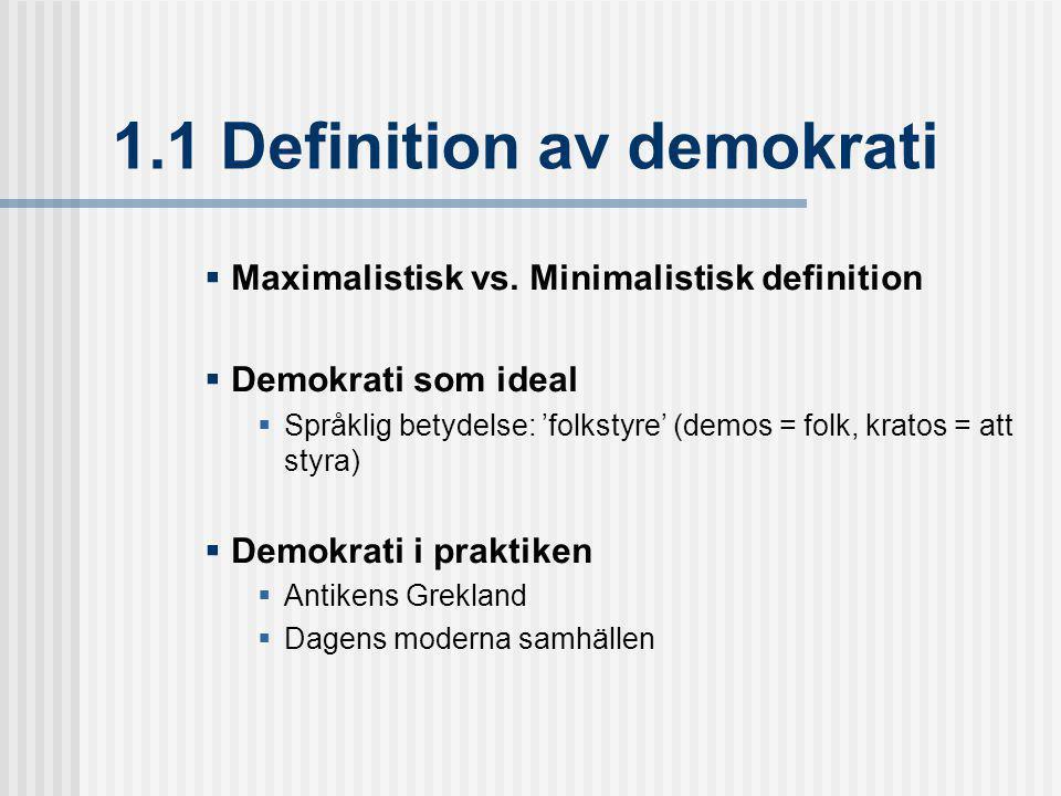 1.1 Definition av demokrati