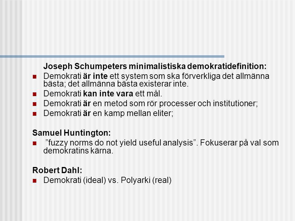 Joseph Schumpeters minimalistiska demokratidefinition:
