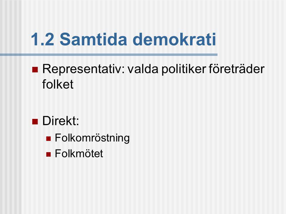1.2 Samtida demokrati Representativ: valda politiker företräder folket
