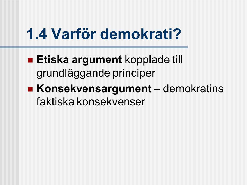 1.4 Varför demokrati. Etiska argument kopplade till grundläggande principer.