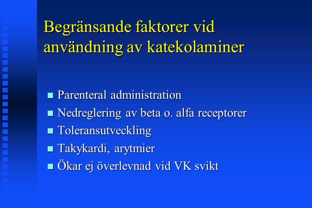 Begränsande faktorer vid användning av katekolaminer