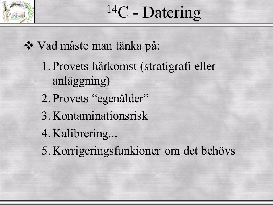 14C - Datering Vad måste man tänka på: