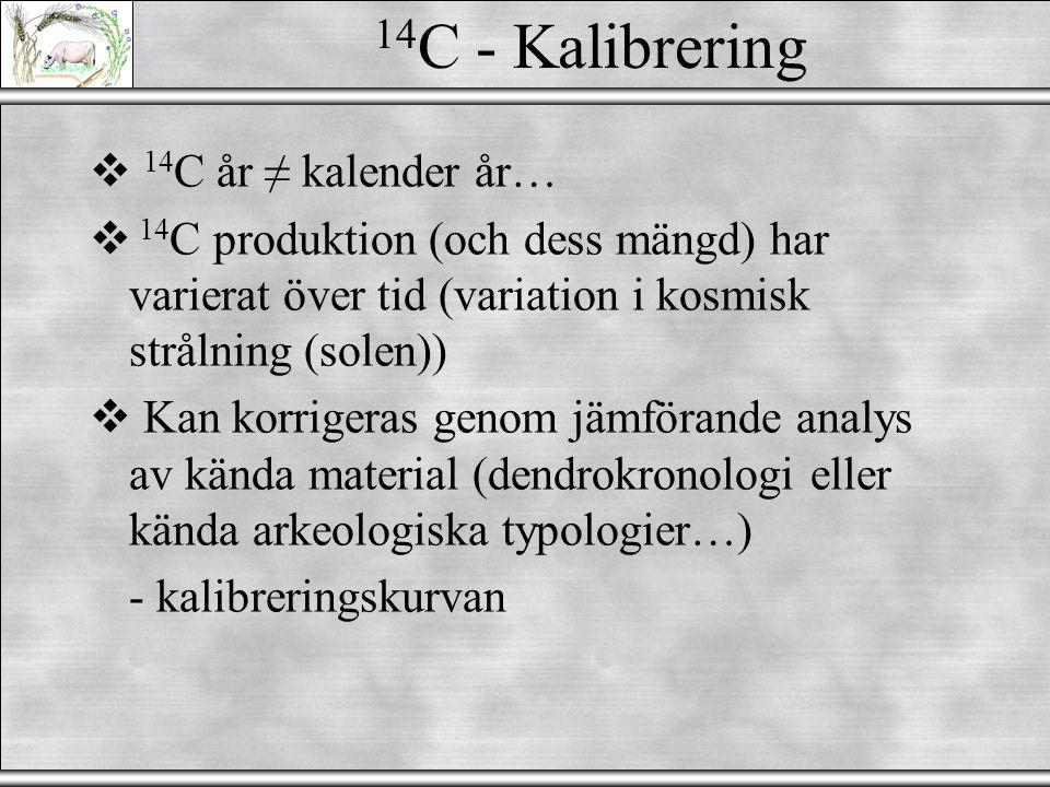 14C - Kalibrering 14C år ≠ kalender år…