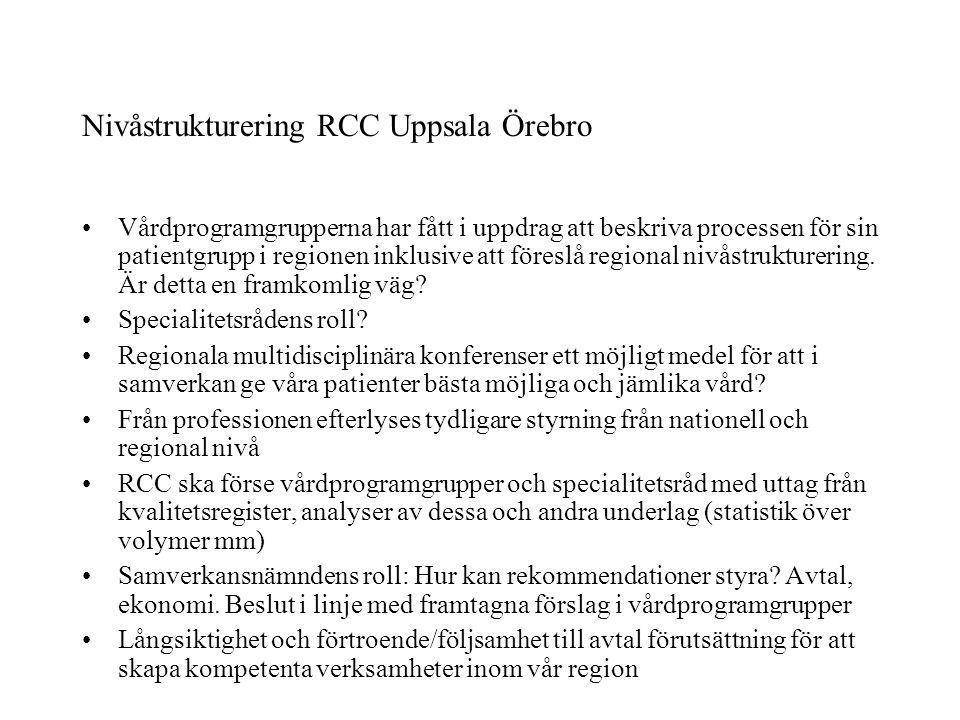 Nivåstrukturering RCC Uppsala Örebro
