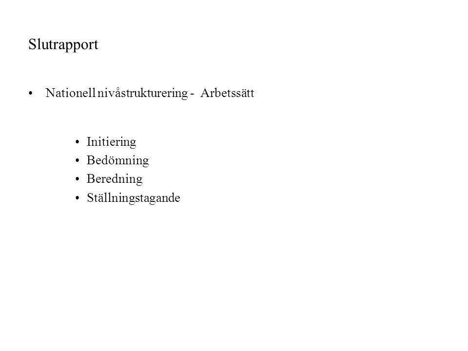 Slutrapport Nationell nivåstrukturering - Arbetssätt Initiering