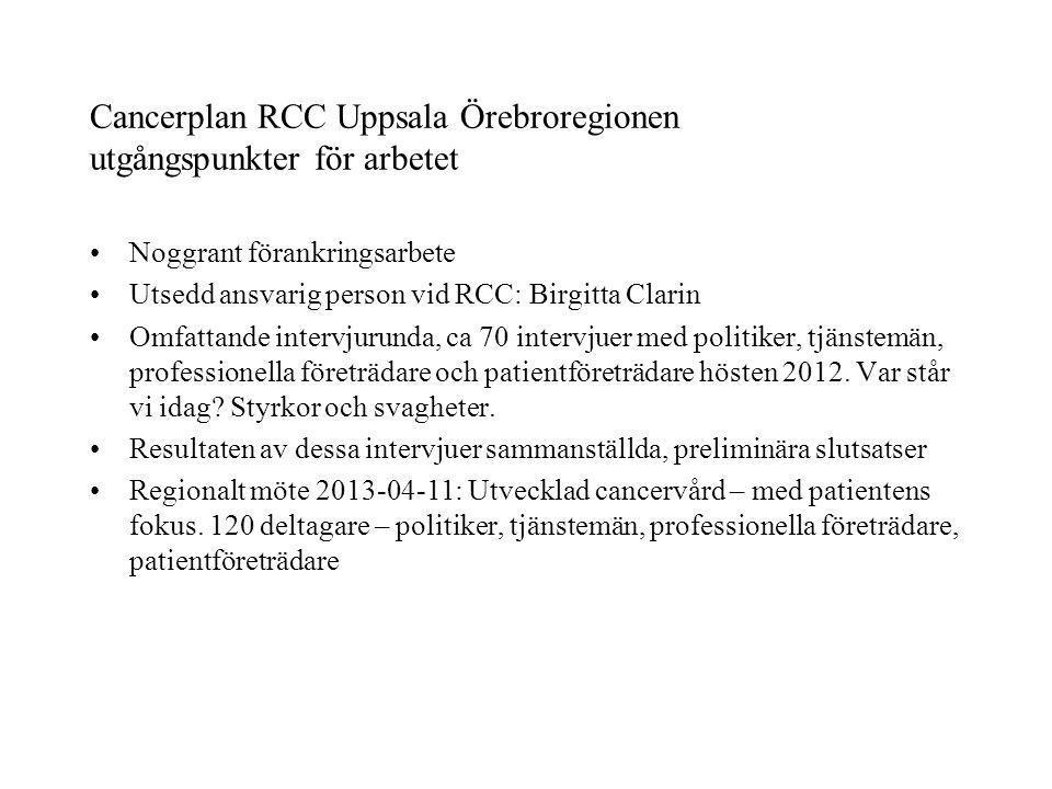 Cancerplan RCC Uppsala Örebroregionen utgångspunkter för arbetet
