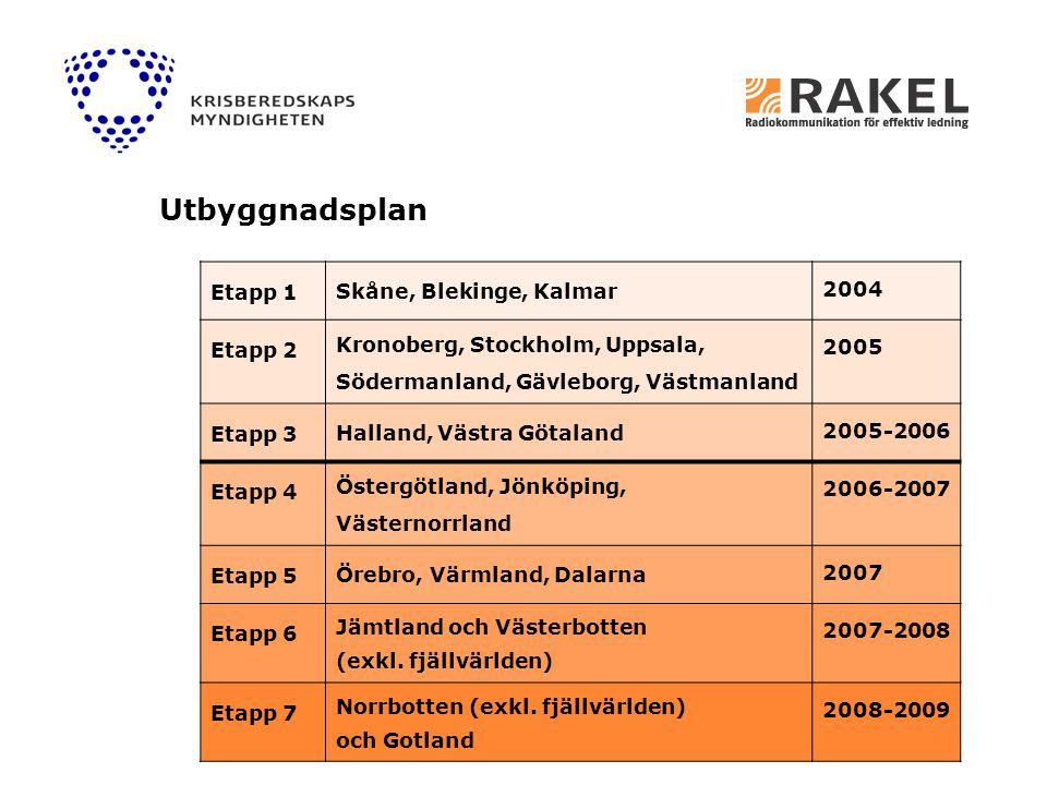 Utbyggnadsplan Etapp 1 Skåne, Blekinge, Kalmar 2004 Etapp 2