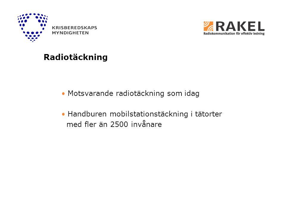 Radiotäckning Motsvarande radiotäckning som idag