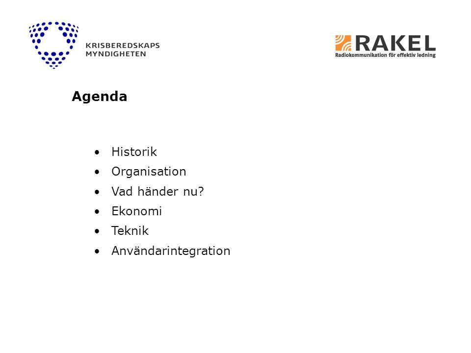 Agenda Historik Organisation Vad händer nu Ekonomi Teknik