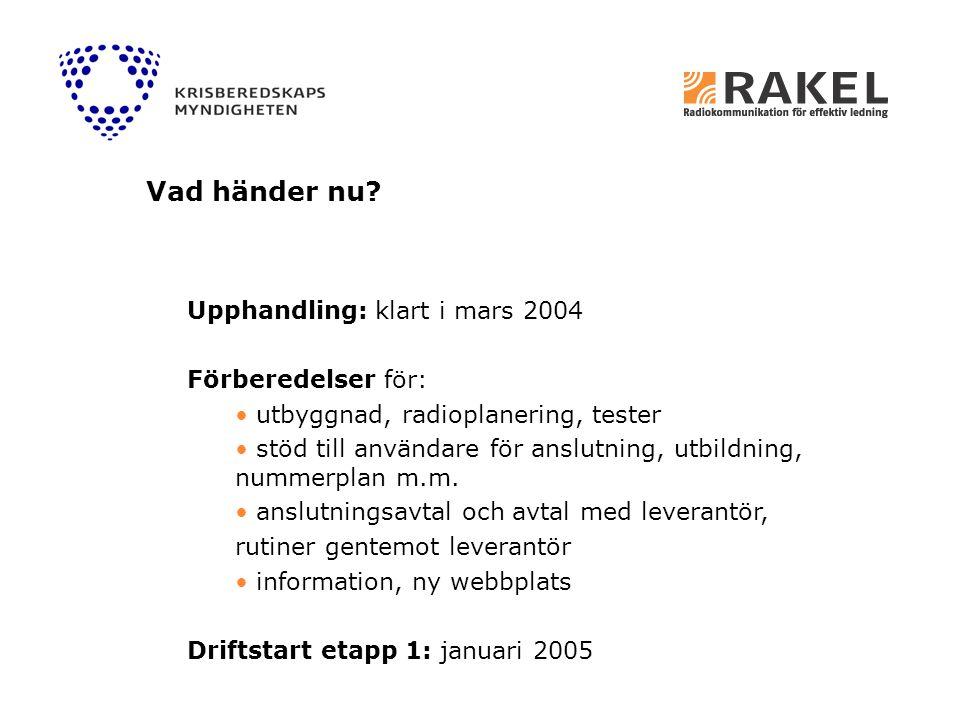 Vad händer nu Upphandling: klart i mars 2004 Förberedelser för: