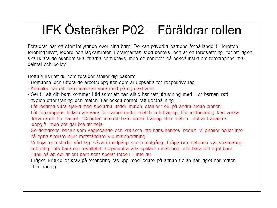 IFK Österåker P02 – Föräldrar rollen