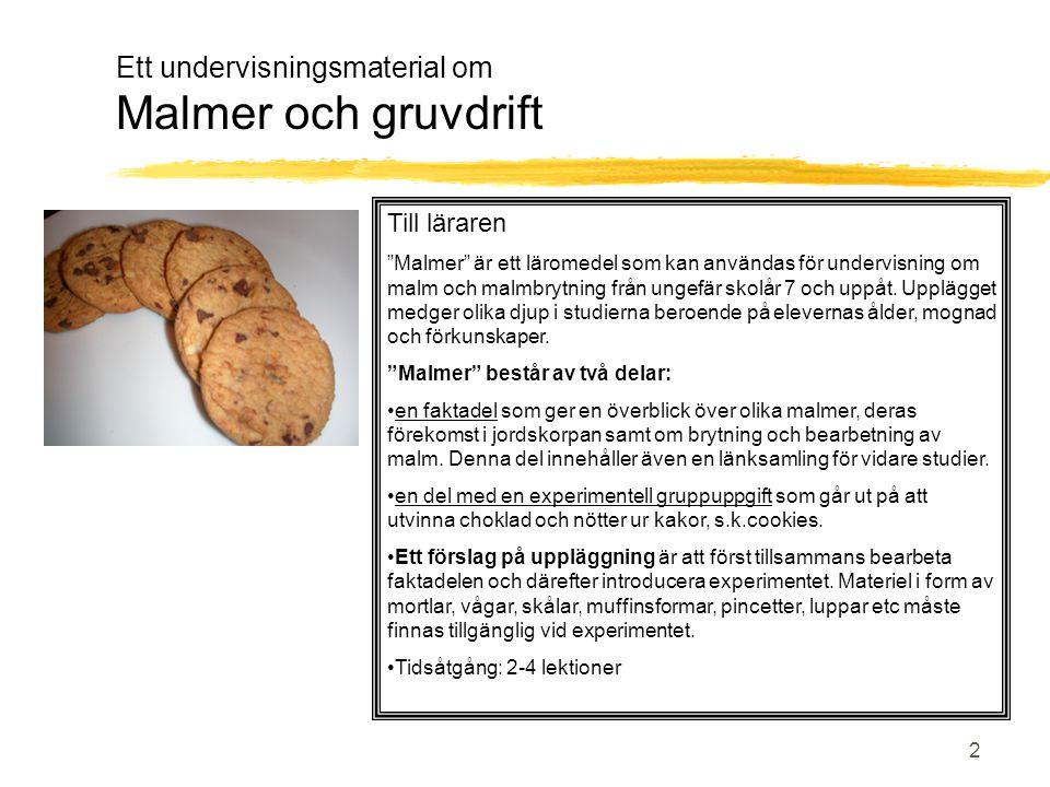 Ett undervisningsmaterial om Malmer och gruvdrift