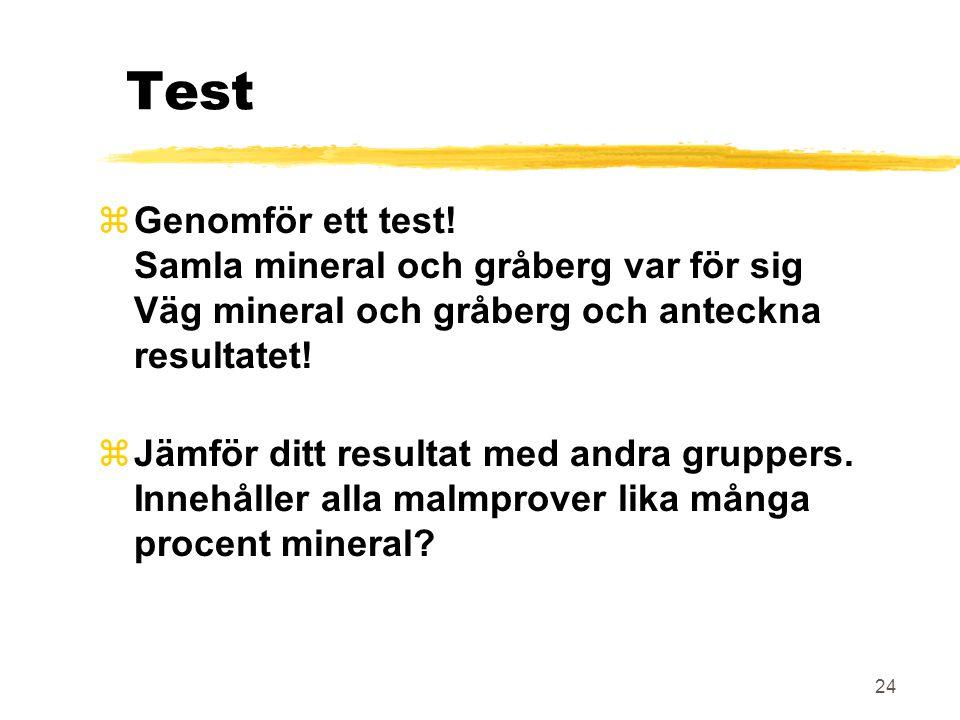 Test Genomför ett test! Samla mineral och gråberg var för sig Väg mineral och gråberg och anteckna resultatet!
