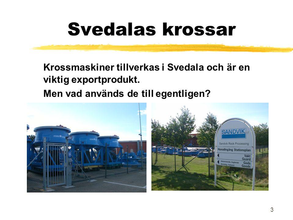 Svedalas krossar Krossmaskiner tillverkas i Svedala och är en viktig exportprodukt.