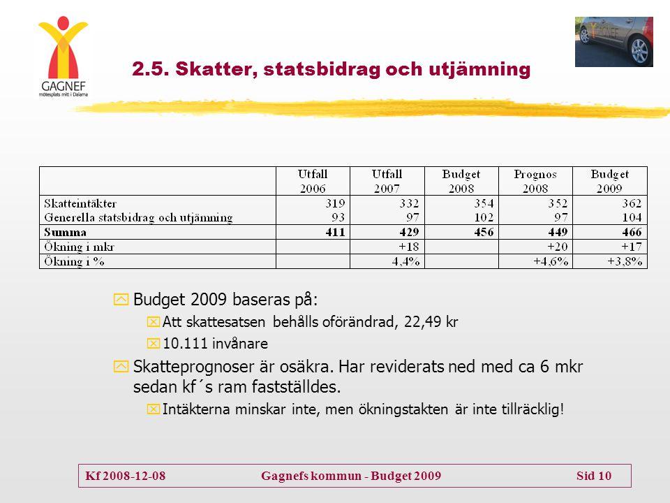 2.5. Skatter, statsbidrag och utjämning