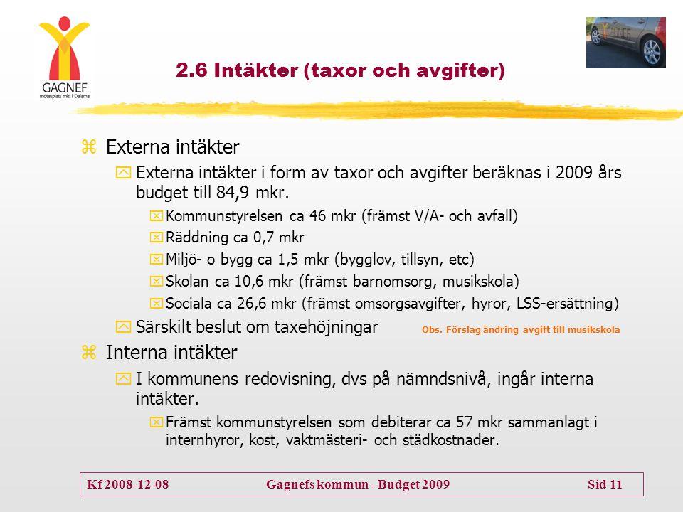 2.6 Intäkter (taxor och avgifter)