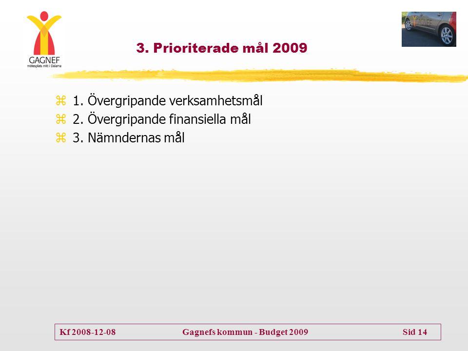 3. Prioriterade mål 2009 1. Övergripande verksamhetsmål.