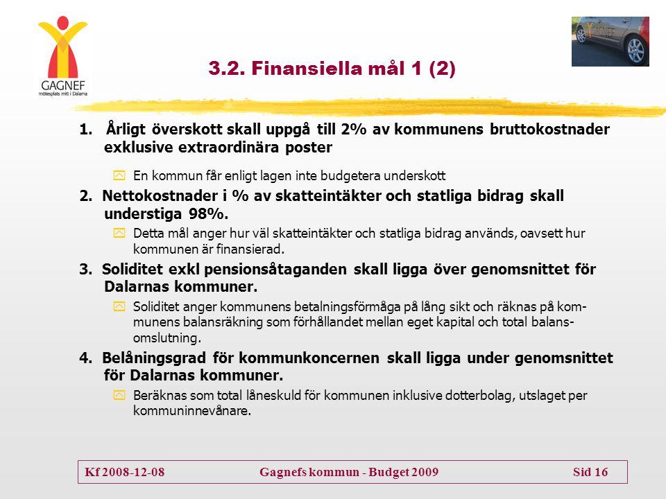 3.2. Finansiella mål 1 (2) 1. Årligt överskott skall uppgå till 2% av kommunens bruttokostnader exklusive extraordinära poster.