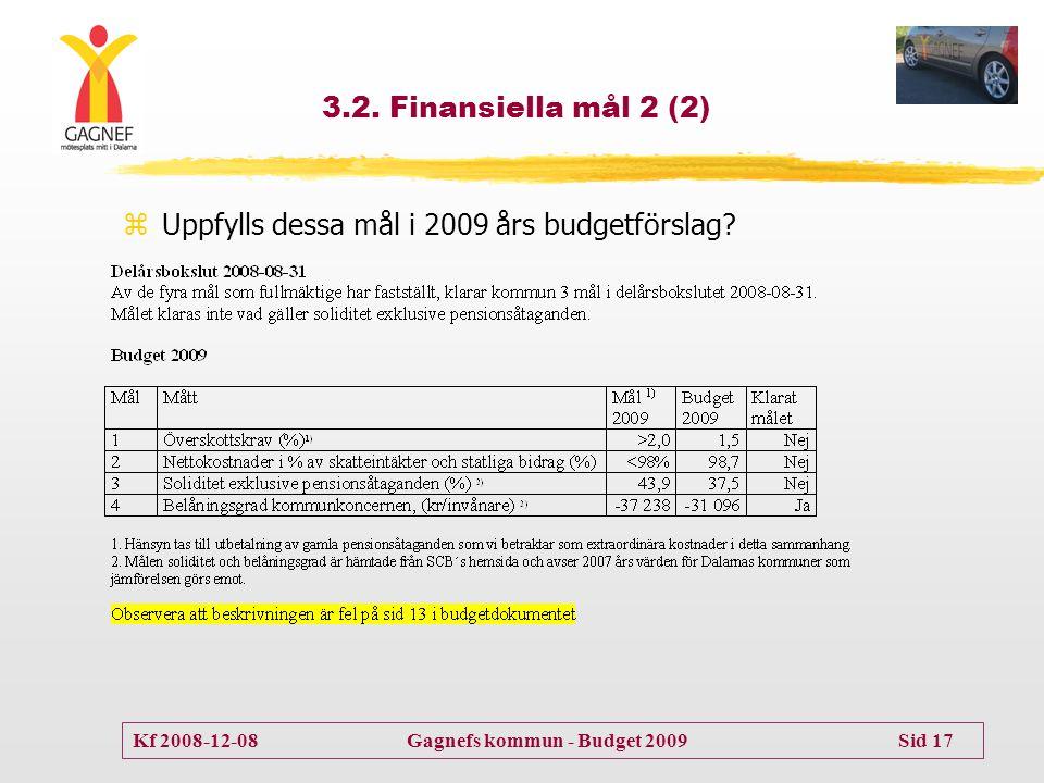 3.2. Finansiella mål 2 (2) Uppfylls dessa mål i 2009 års budgetförslag
