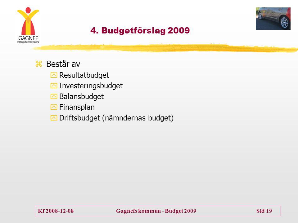 4. Budgetförslag 2009 Består av Resultatbudget Investeringsbudget