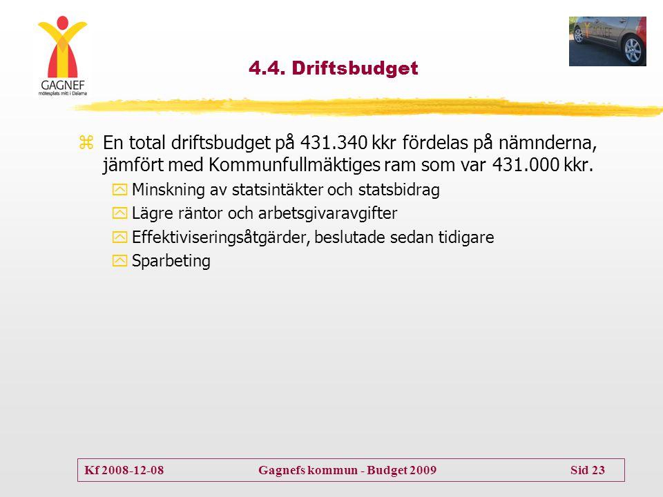 4.4. Driftsbudget En total driftsbudget på 431.340 kkr fördelas på nämnderna, jämfört med Kommunfullmäktiges ram som var 431.000 kkr.