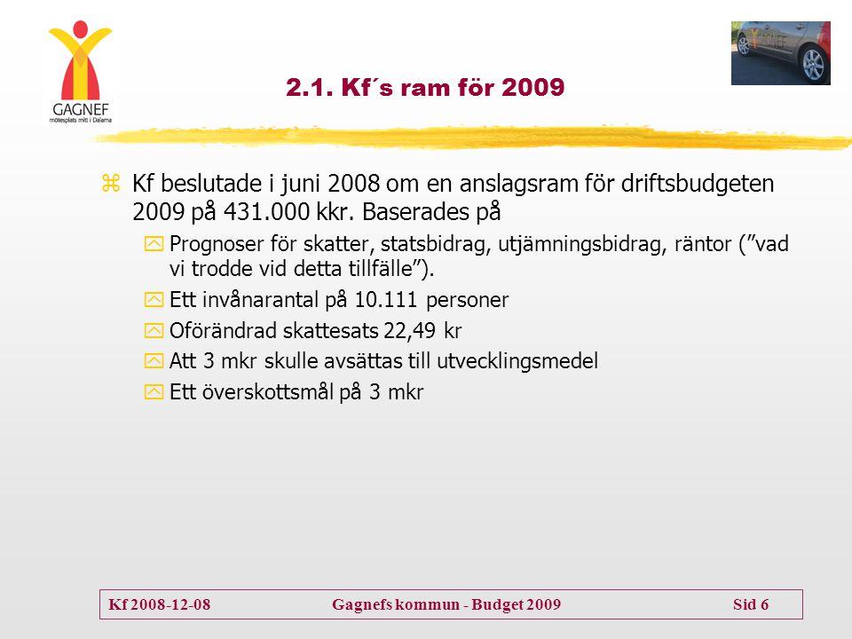 2.1. Kf´s ram för 2009 Kf beslutade i juni 2008 om en anslagsram för driftsbudgeten 2009 på 431.000 kkr. Baserades på.