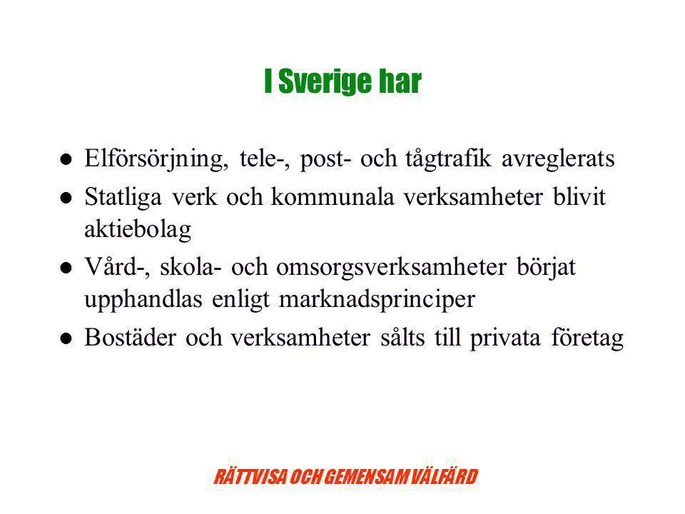 I Sverige har Elförsörjning, tele-, post- och tågtrafik avreglerats