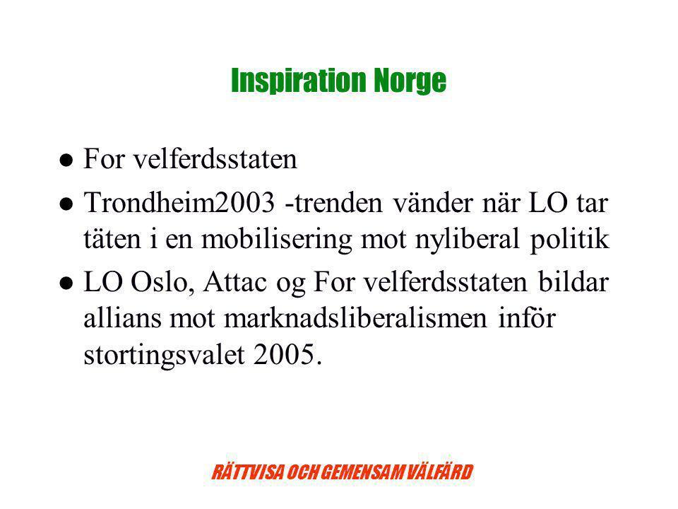 Inspiration Norge For velferdsstaten. Trondheim2003 -trenden vänder när LO tar täten i en mobilisering mot nyliberal politik.
