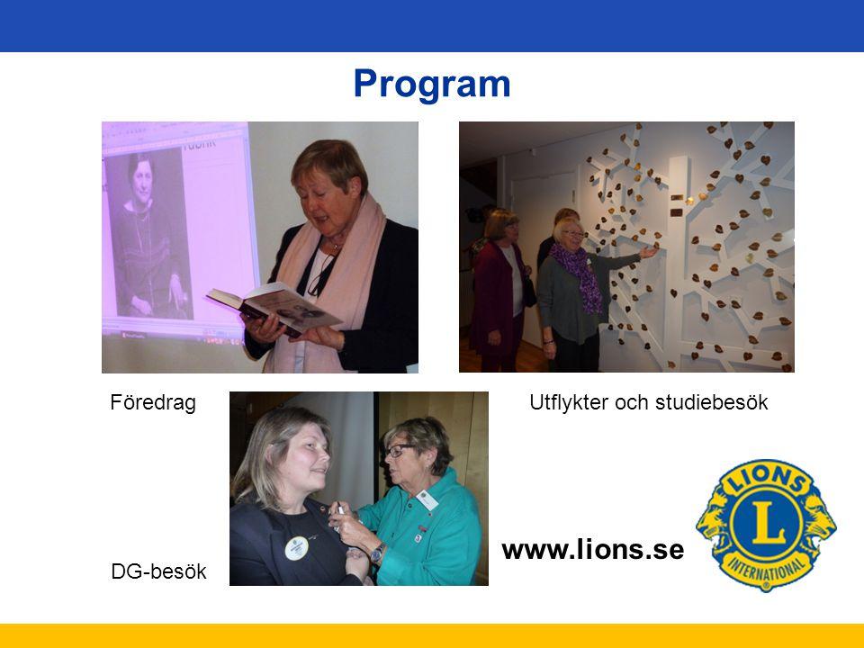 Program Föredrag Utflykter och studiebesök DG-besök