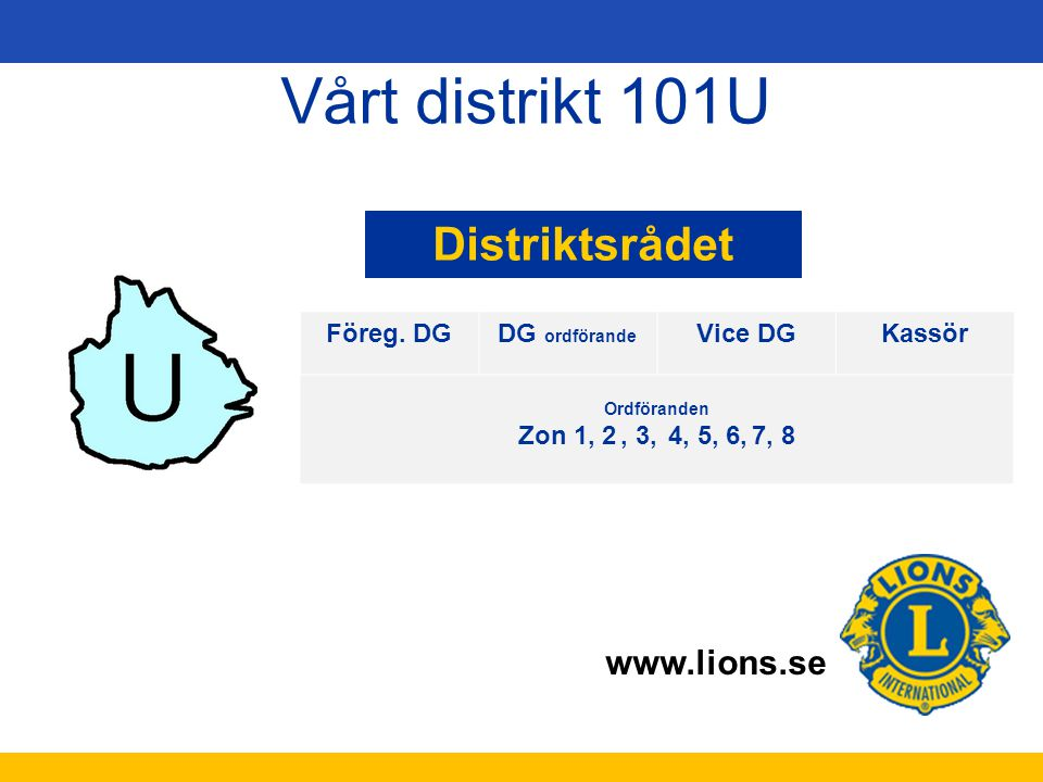 Vårt distrikt 101U Distriktsrådet Föreg. DG GunillaPersson (AU)