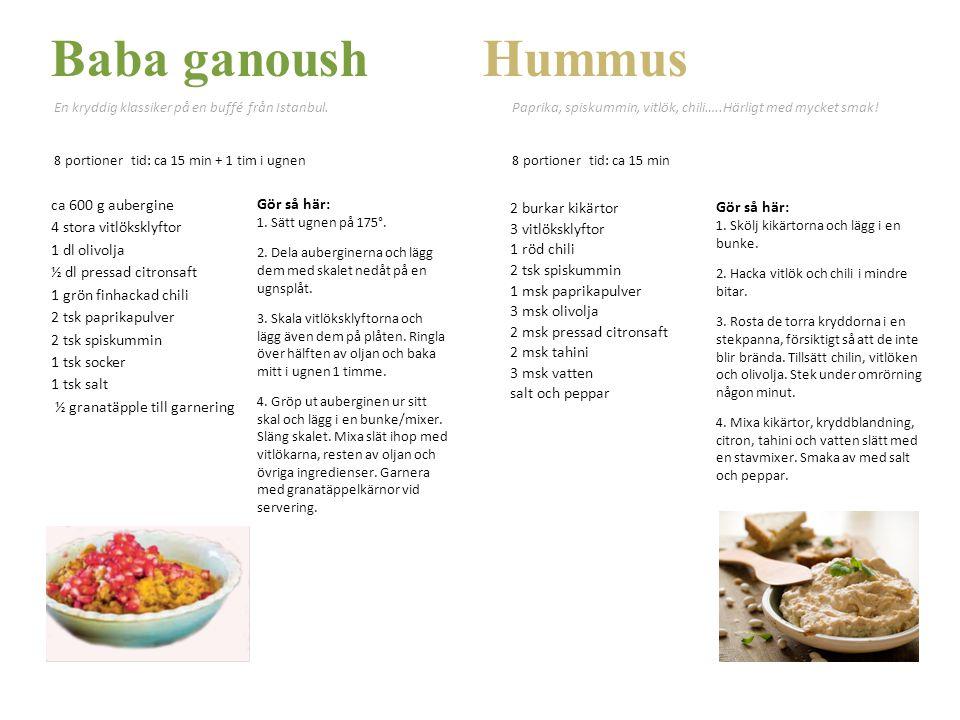 Baba ganoush Hummus 2 burkar kikärtor Gör så här: 3 vitlöksklyftor