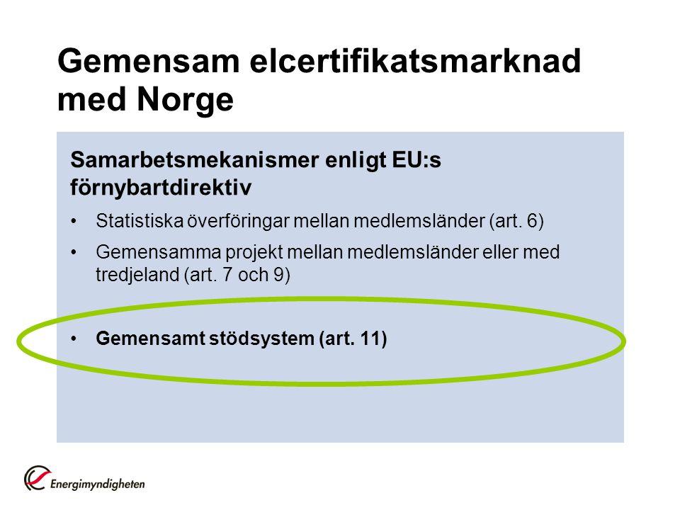 Gemensam elcertifikatsmarknad med Norge