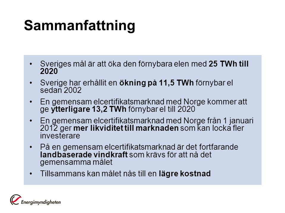 Sammanfattning Sveriges mål är att öka den förnybara elen med 25 TWh till 2020. Sverige har erhållit en ökning på 11,5 TWh förnybar el sedan 2002.