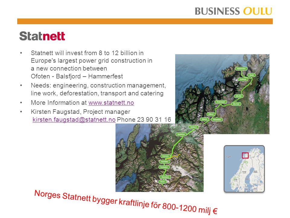 Norges Statnett bygger kraftlinje för 800-1200 milj €