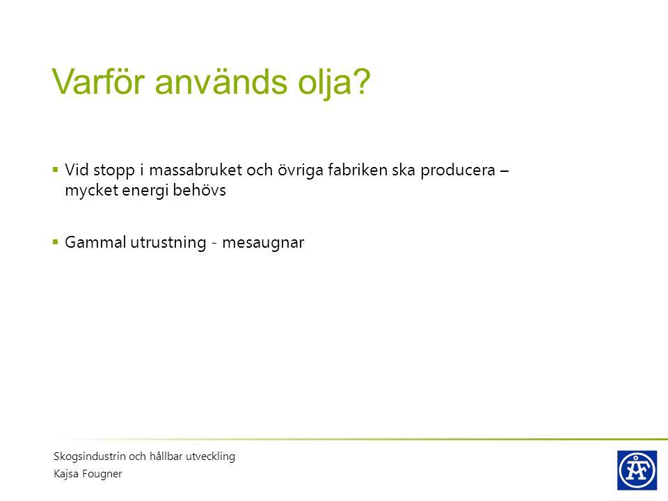 Varför används olja Vid stopp i massabruket och övriga fabriken ska producera – mycket energi behövs.