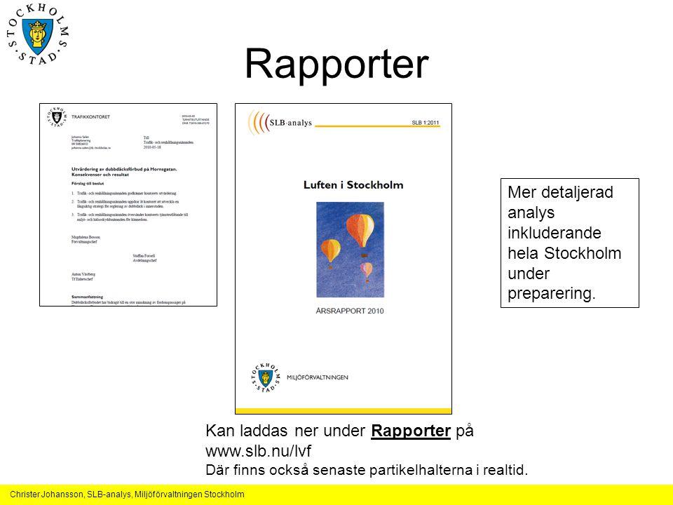 Rapporter Mer detaljerad analys inkluderande hela Stockholm under preparering. Kan laddas ner under Rapporter på.